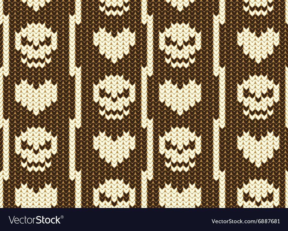 Hearts and skull knitted pattern