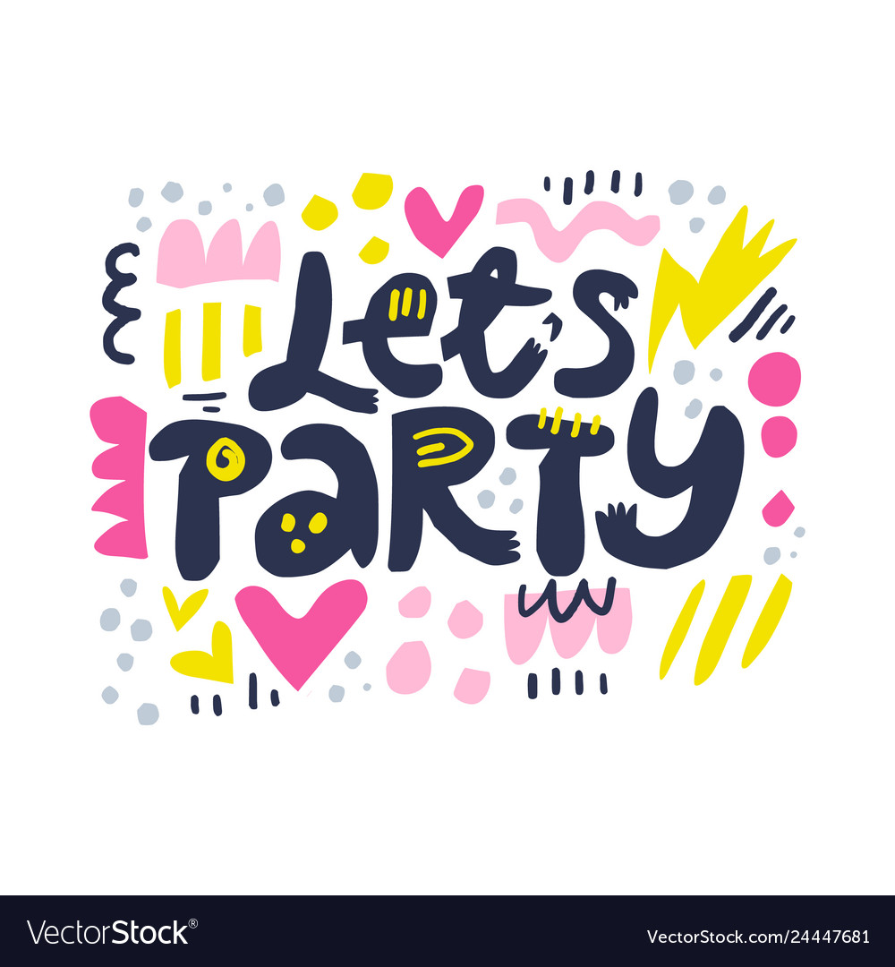 Lets party cartoon letters