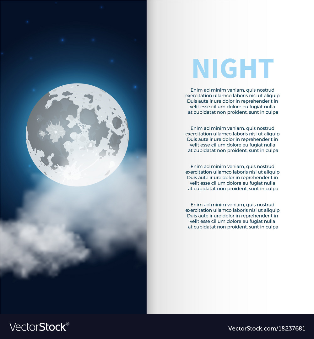 Night banner and poster with moon