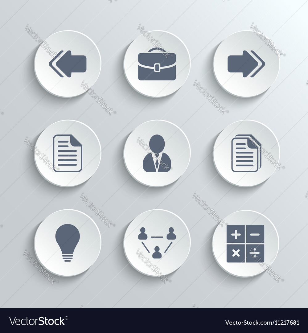 Office icons set - white round buttons