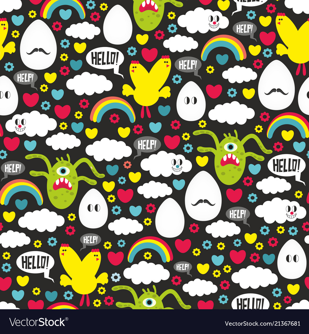 Seamless pattern wit monsters and chicken mutantes