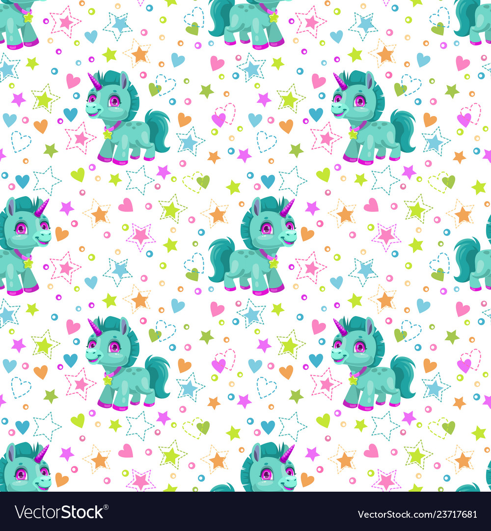 Seamless pattern with cute cartoon little unicorn