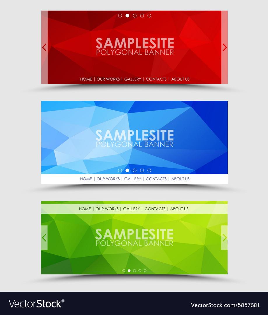 Set of geometric polygonal banner