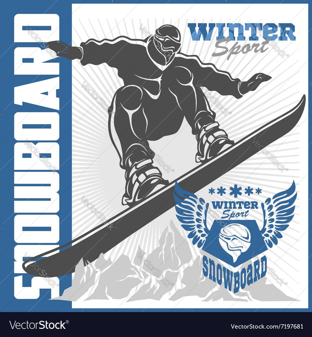 Snowboarding emblem labels and designed elements