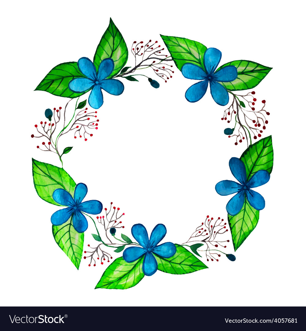Watercolor spring wreath with blue flowers and vector image izmirmasajfo