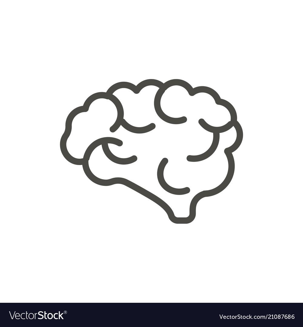 Brain icon outline mind line human brain