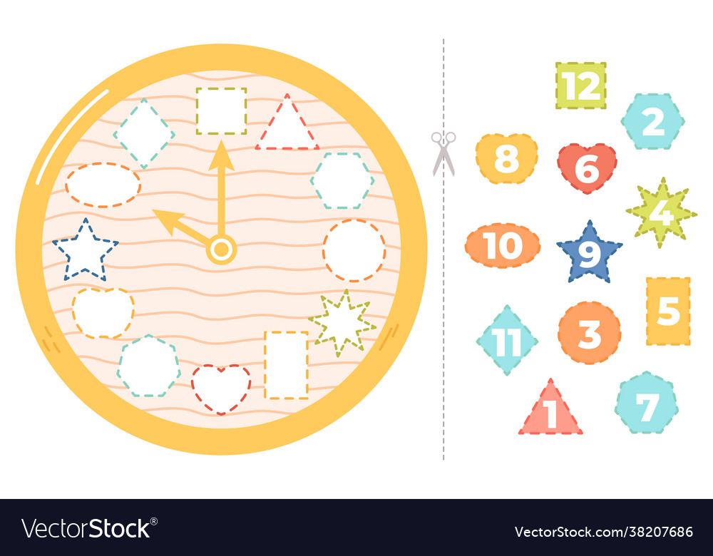 Children clock puzzle game educational time