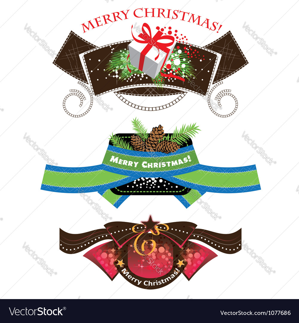 Christmas labels set elements