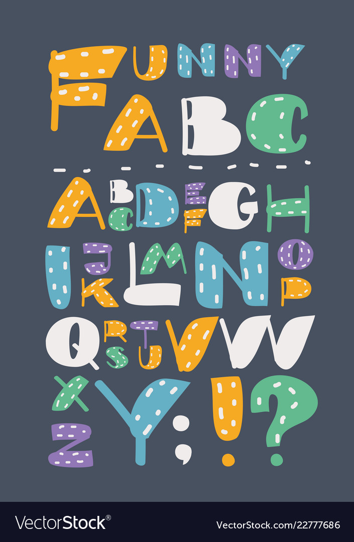 Colored english alphabet with capital letters