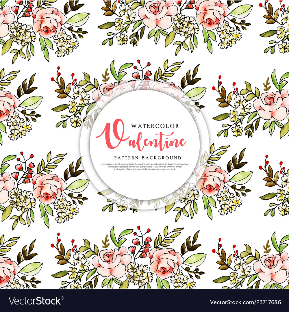 Colorful watercolor valentine pattern background