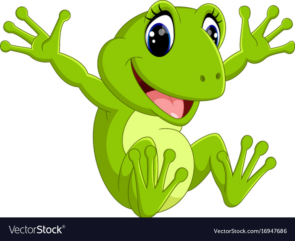 cute frog cartoon royalty free vector image vectorstock