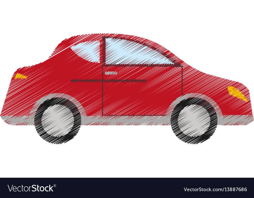 Drawing red car sedan vehicle transport