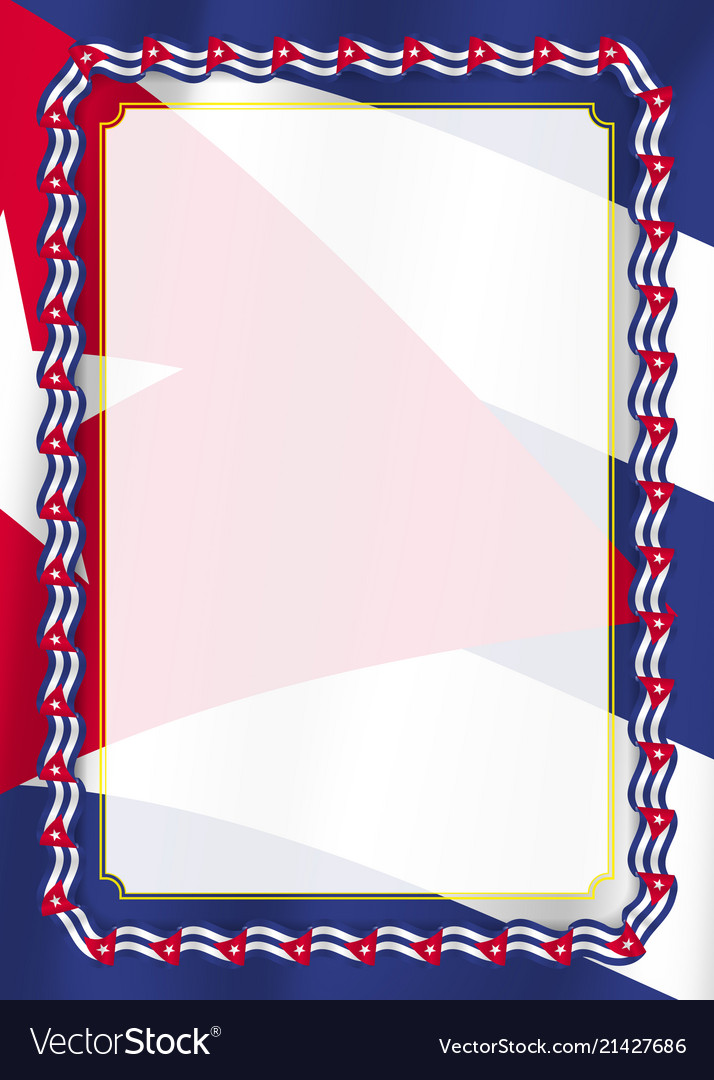 Frame And Border Of Ribbon With Cuba Flag Vector Image
