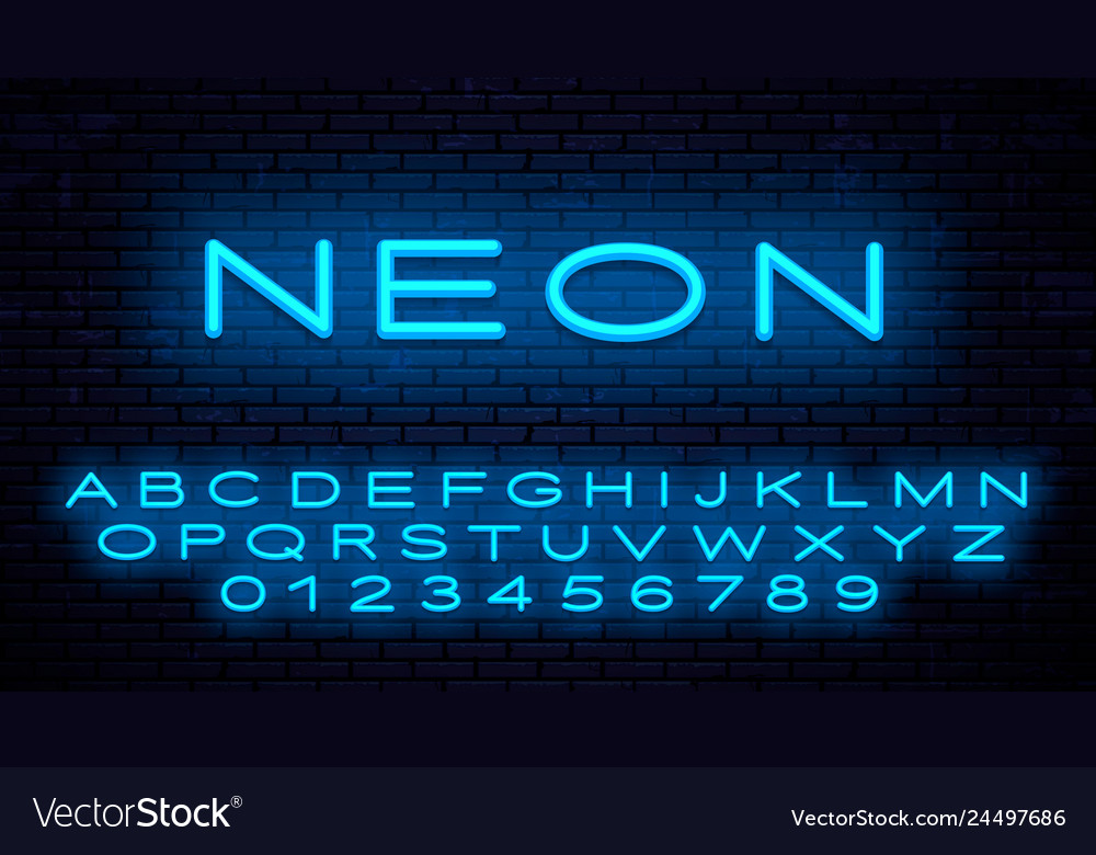 Neon letters of the english alphabet