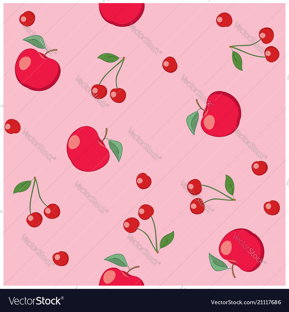 Red apples and cherries on rosy background vector image