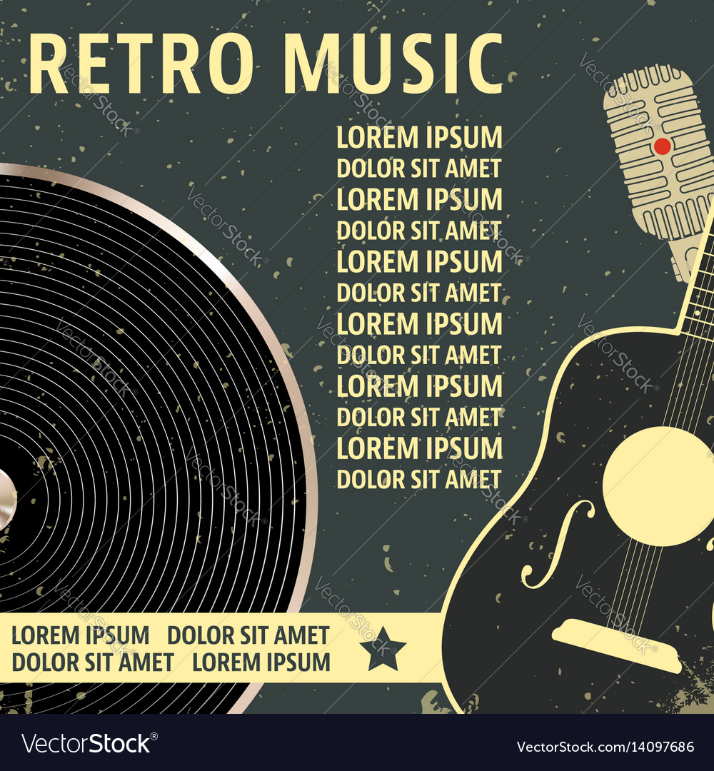 Retro music poster template vector image