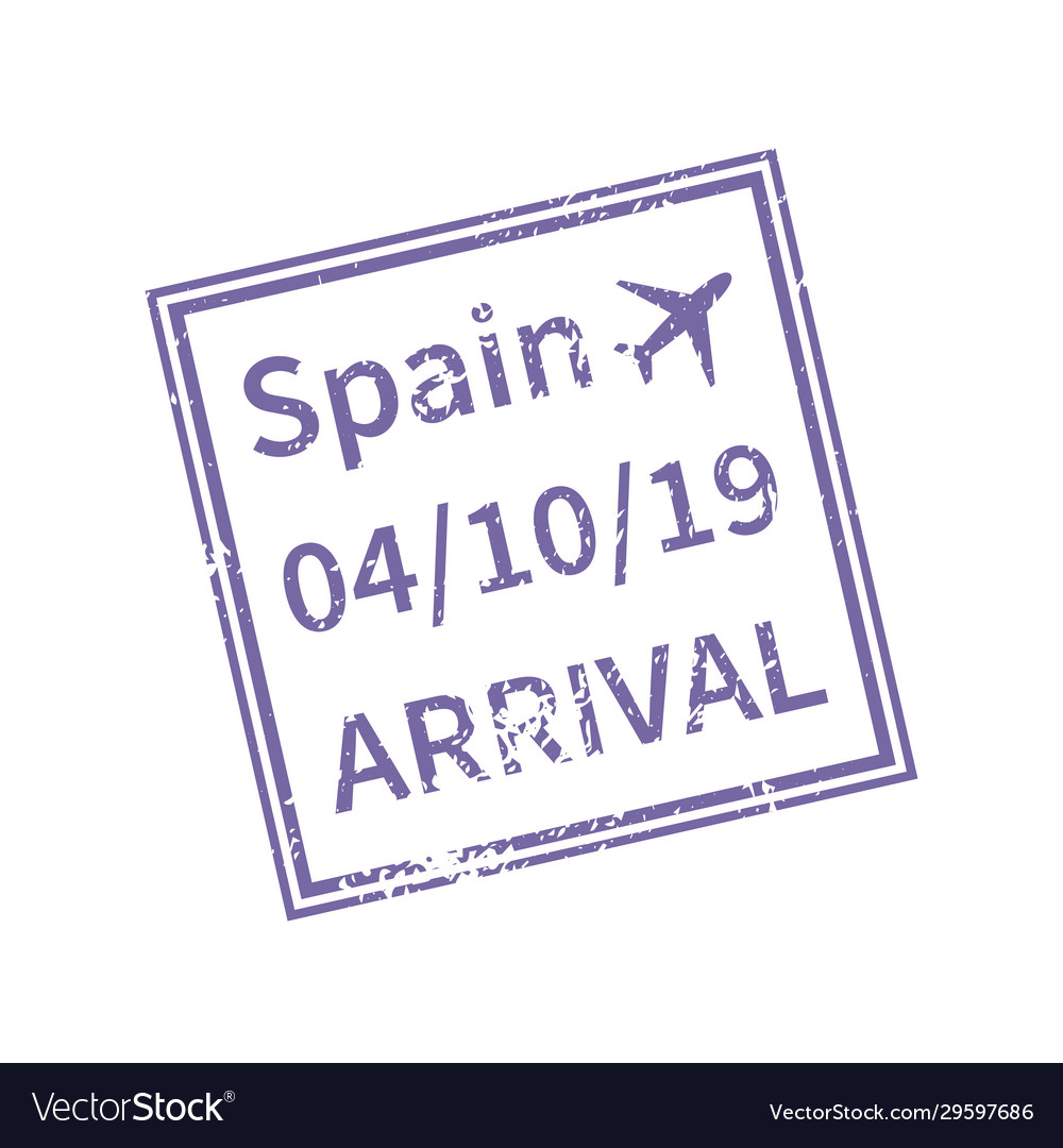 Spain international travel visa stamp isolated on