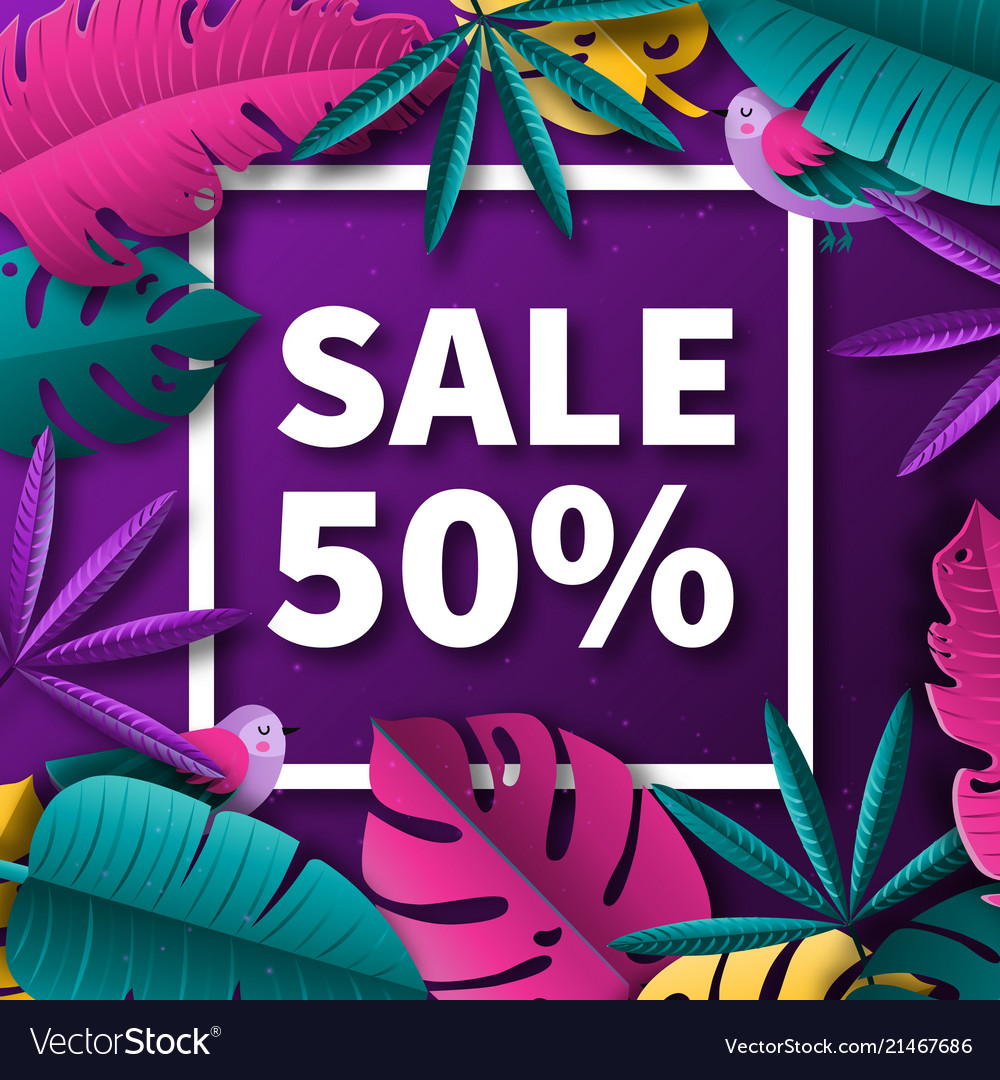 Summer sale background with tropical plants and
