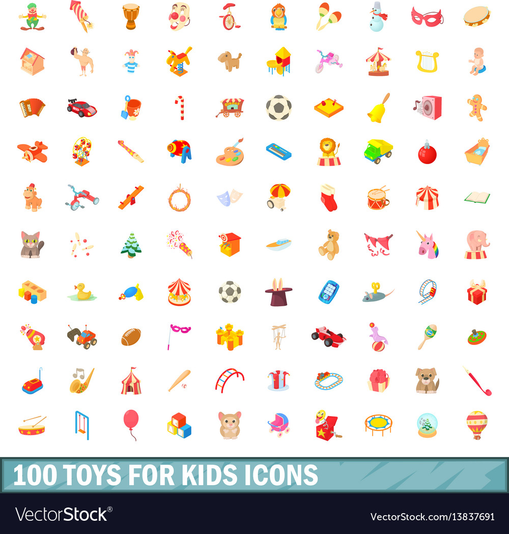 100 toys for kids icons set cartoon style