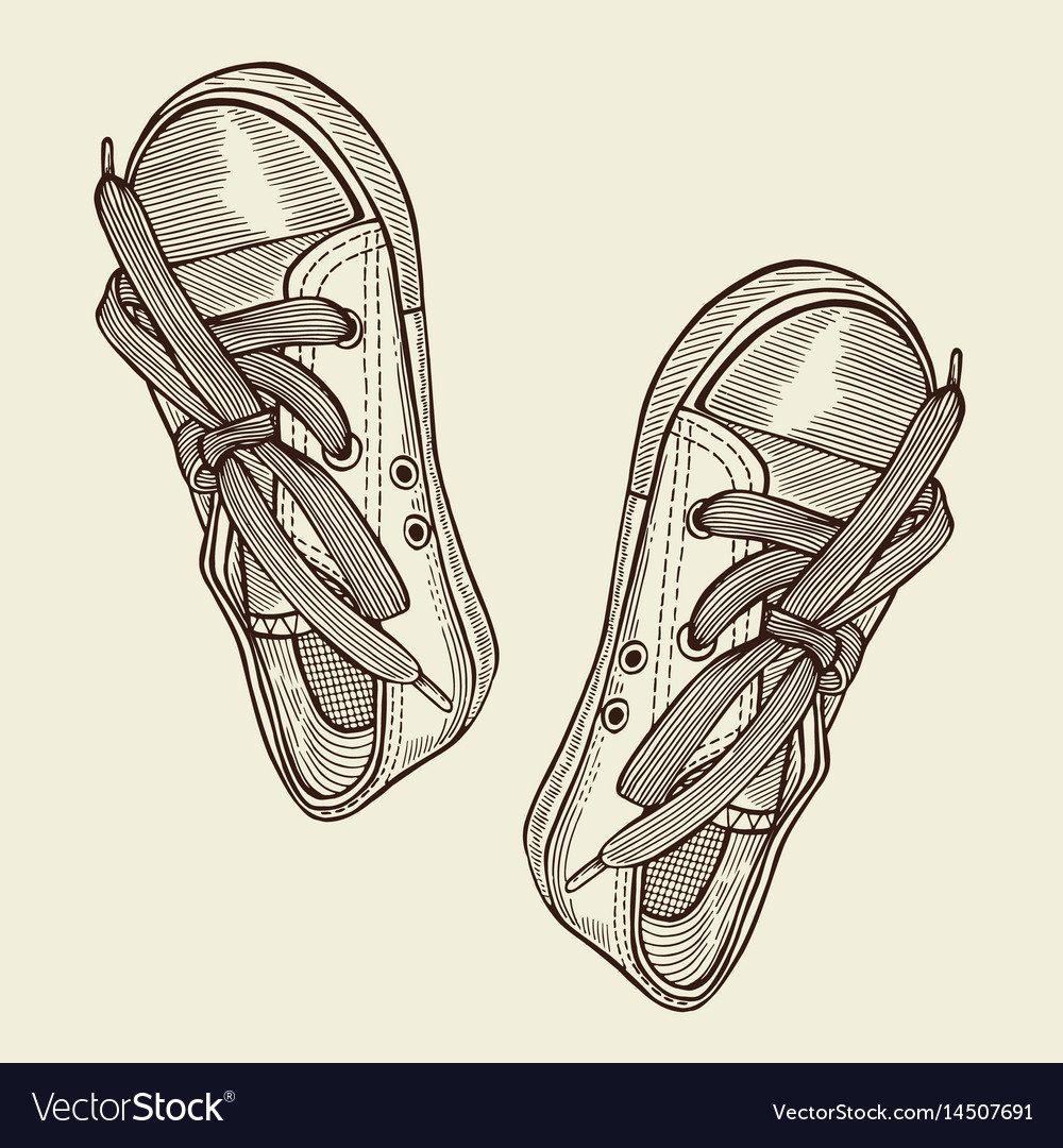 Black sports sneakers vector image
