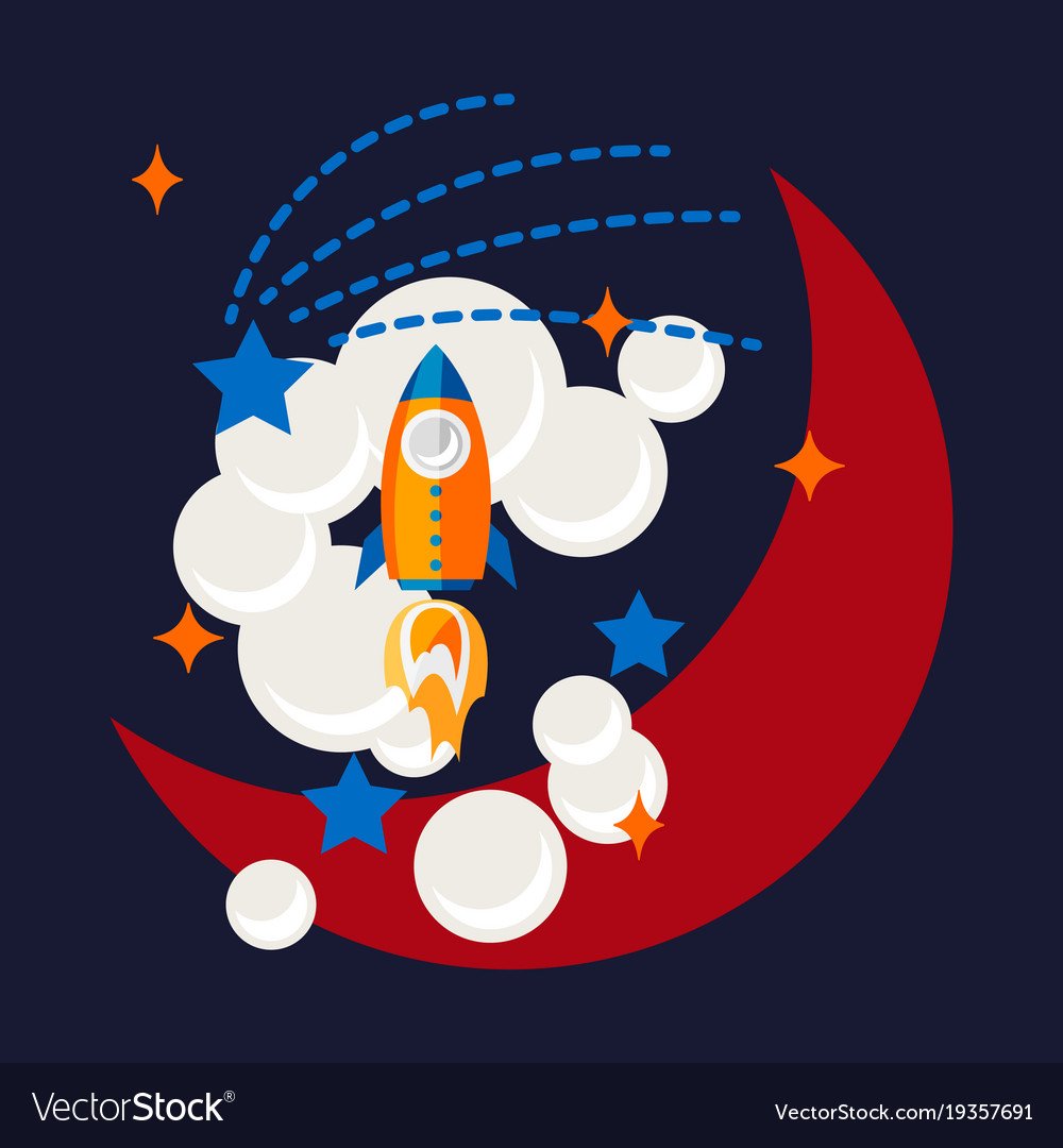Cartoon rocket and moon in space t shirt design
