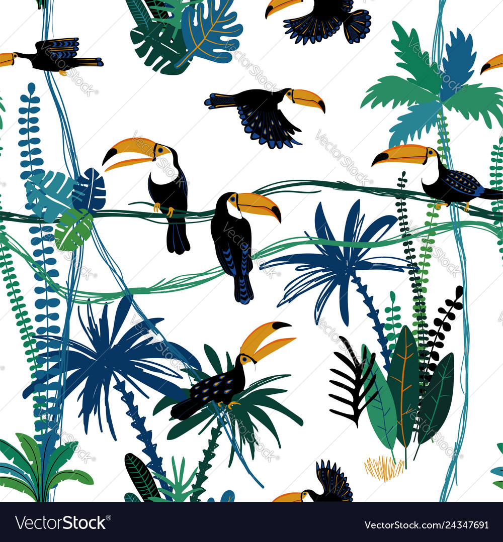 Seamless pattern with toucan birds in jungle