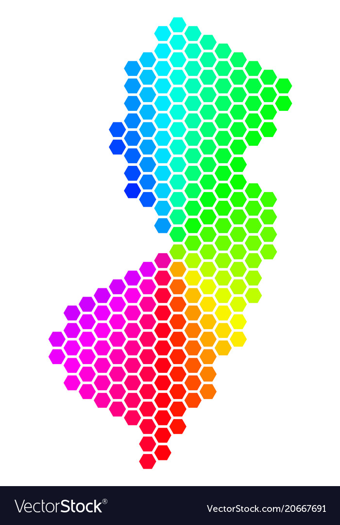 Spectrum hexagon new jersey state map Royalty Free Vector
