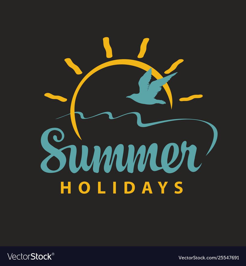 Travel summer banner with inscription sun gull