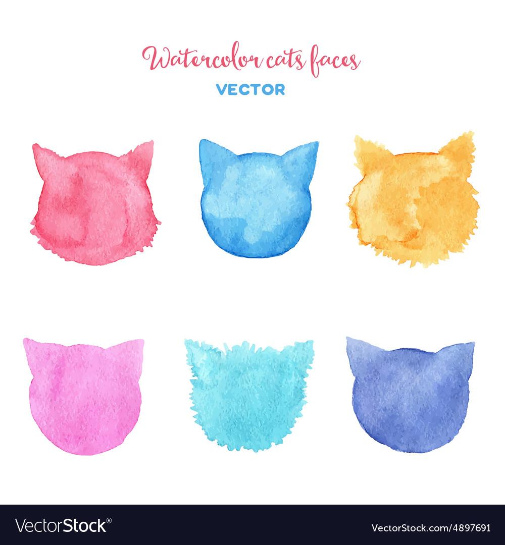 Watercolor cats faces spots