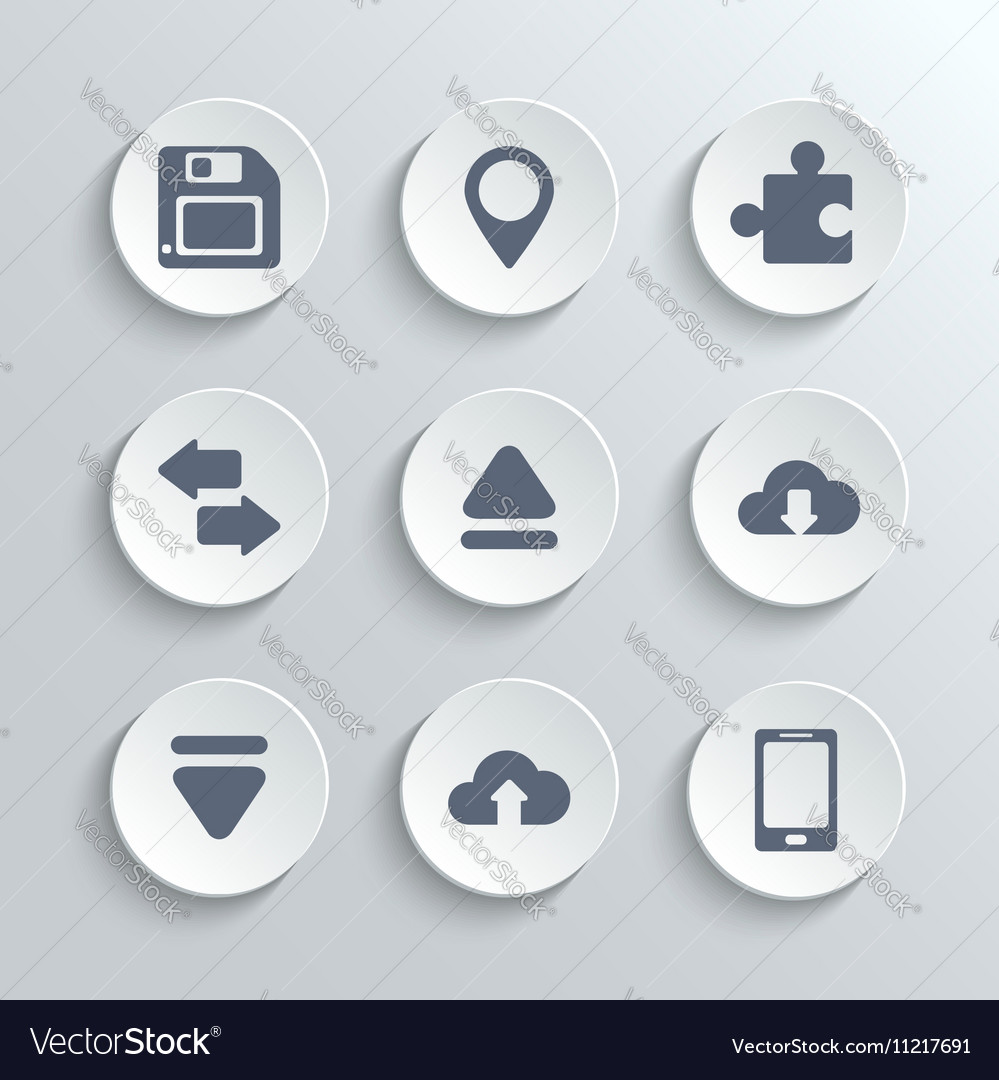 Web icons set - white round buttons
