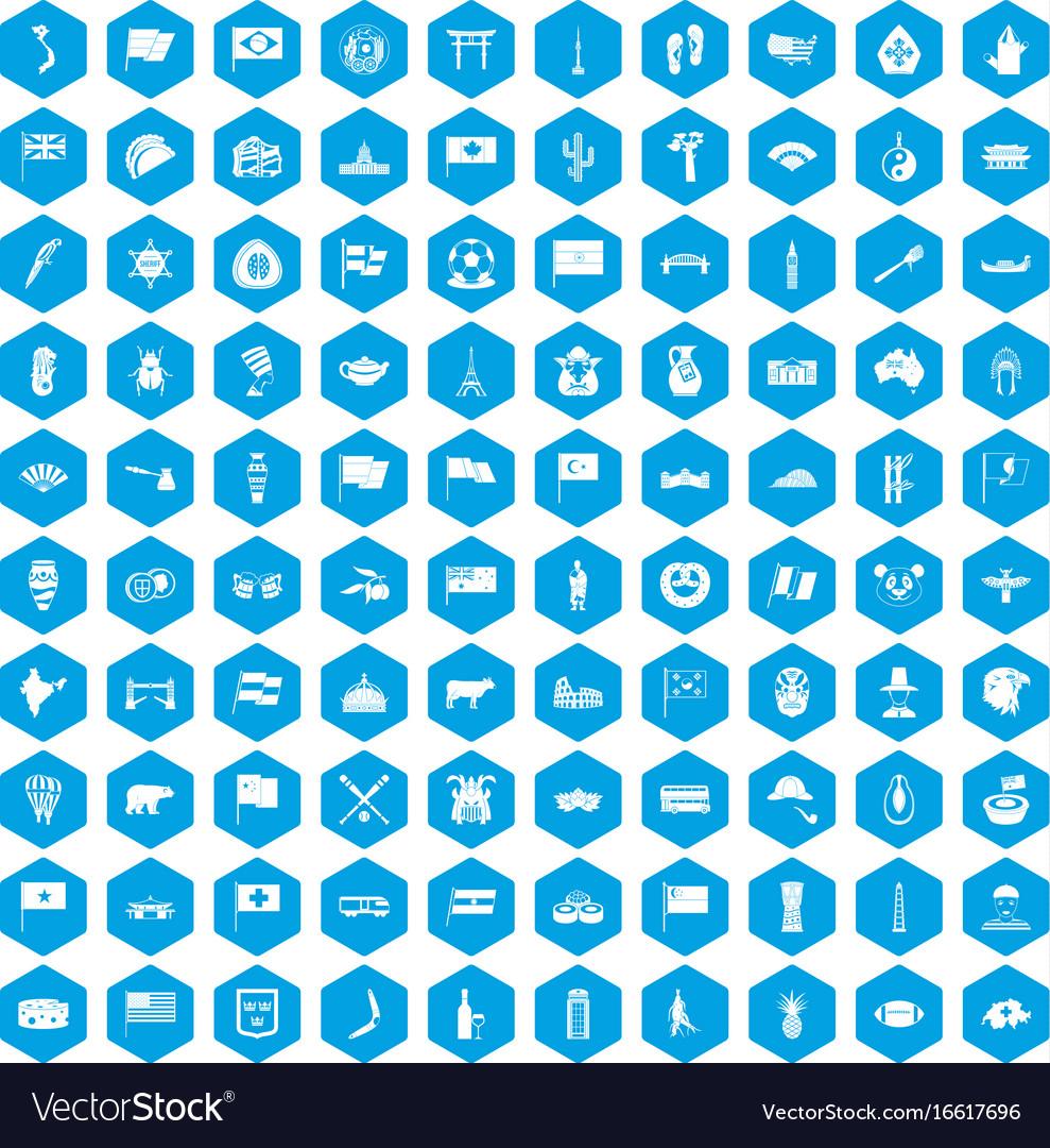 100 national flag icons set blue