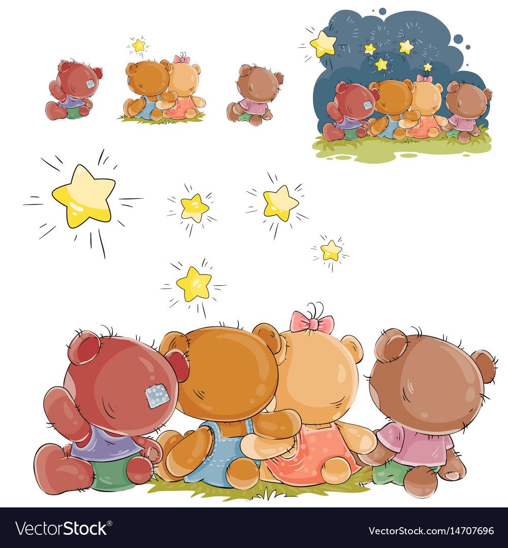 A group of teddy bears vector image