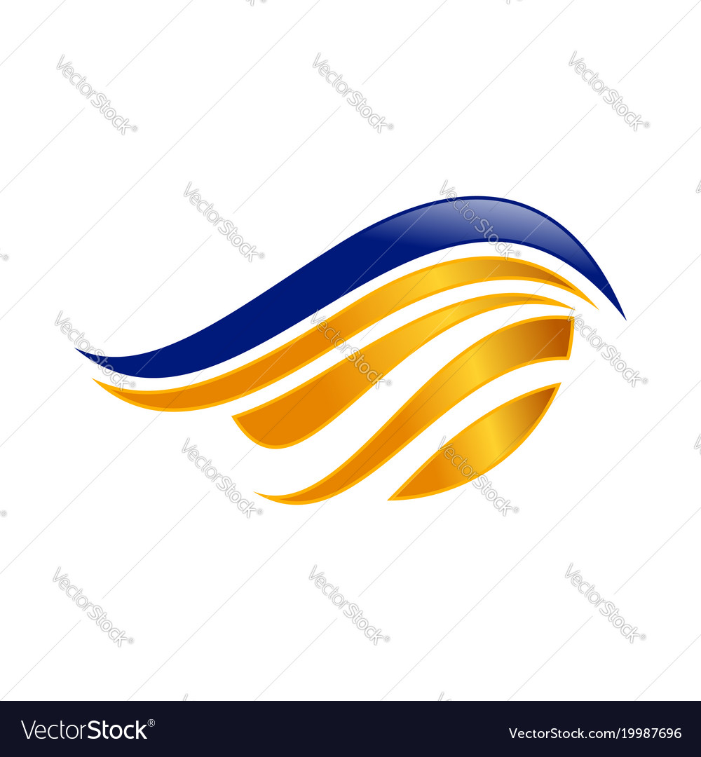 Abstract blue gold wing symbol design