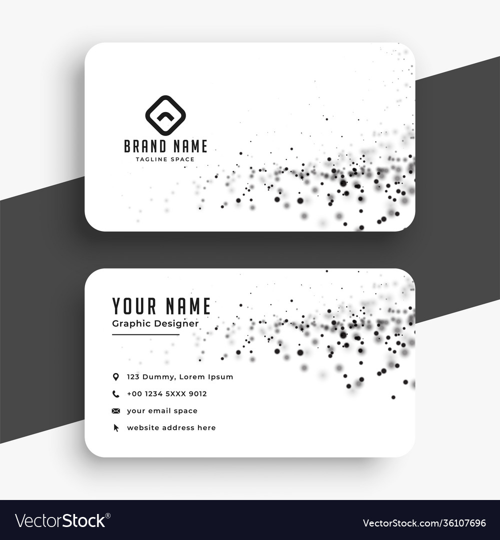 Abstract white business card with particles