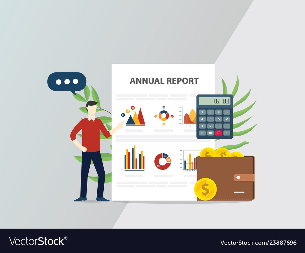 Annual report concept with people give