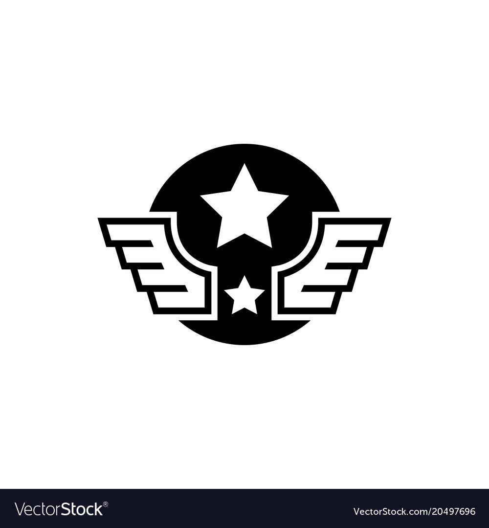Aviation military wings with star flat icon