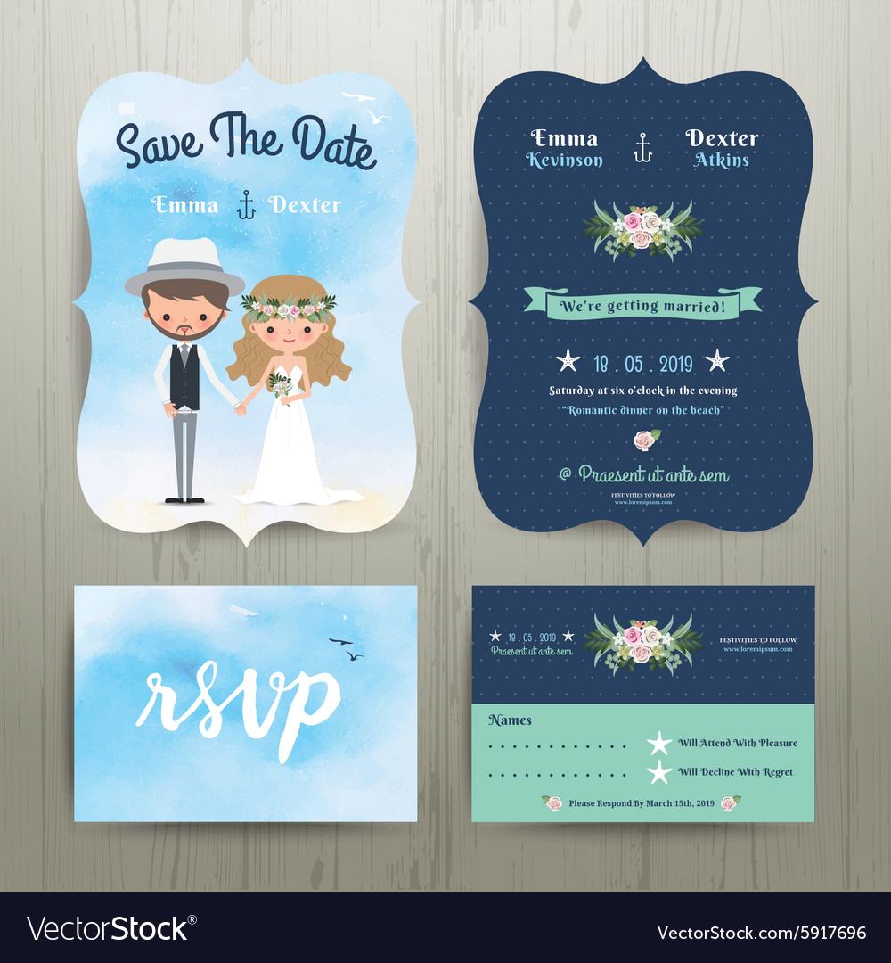 Bohemian cartoon couple on the beach wedding card