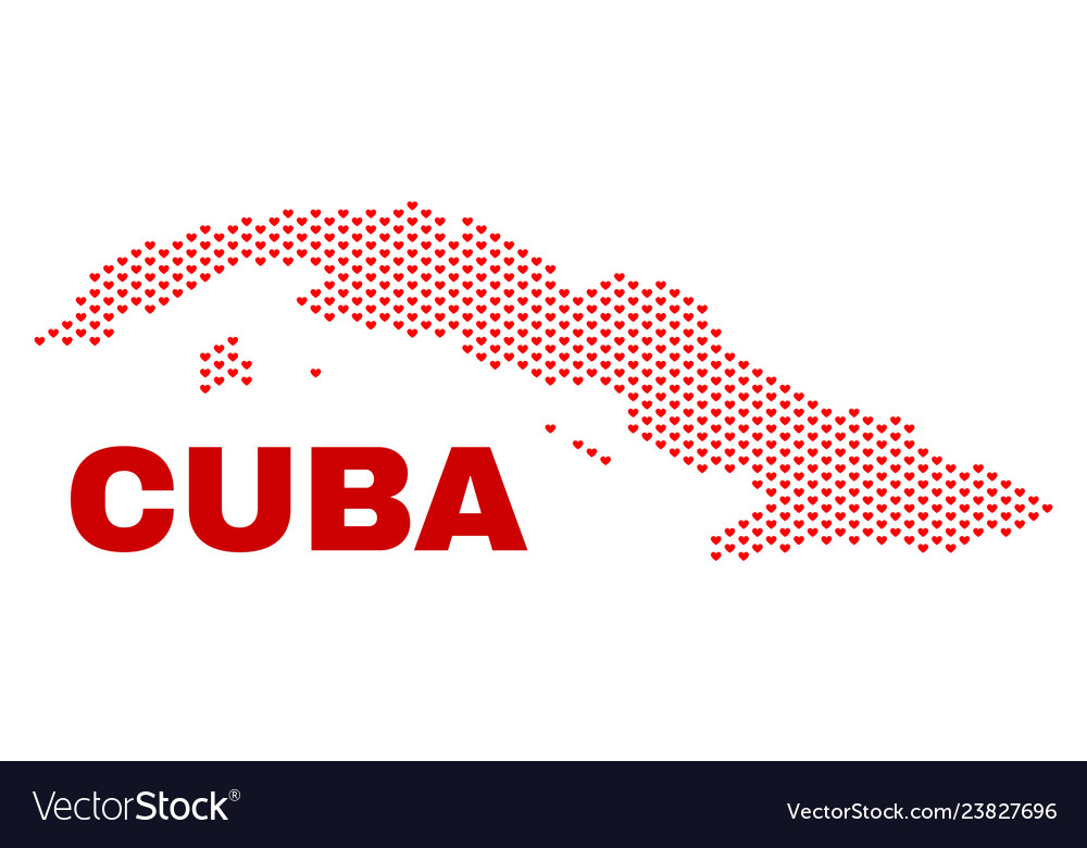 Cuba map - mosaic of valentine hearts