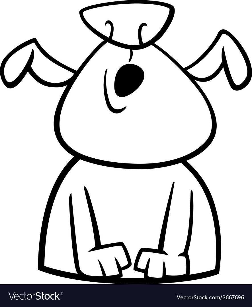 Dog howls cartoon coloring page vector image