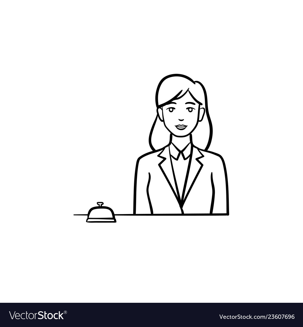 Female receptionist in a hotel with a reception