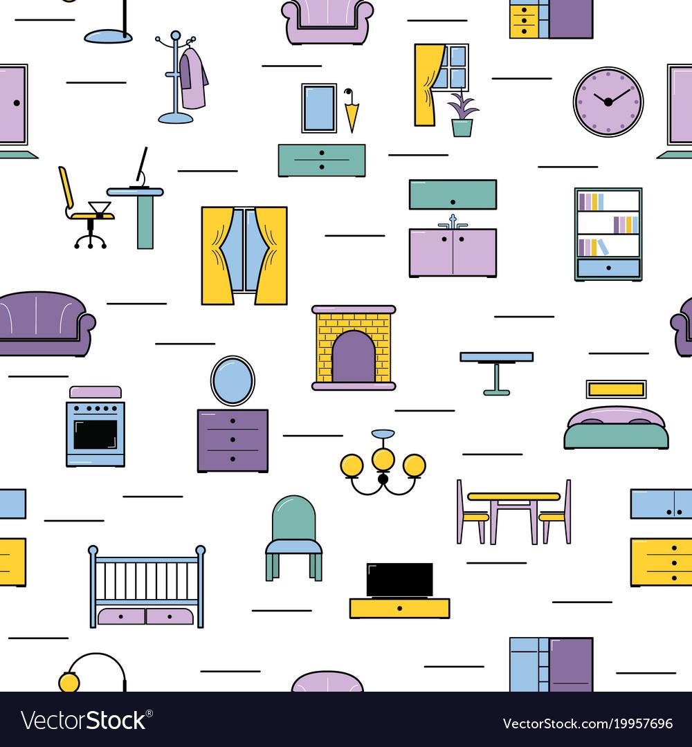 Furniture seamless pattern furnishings