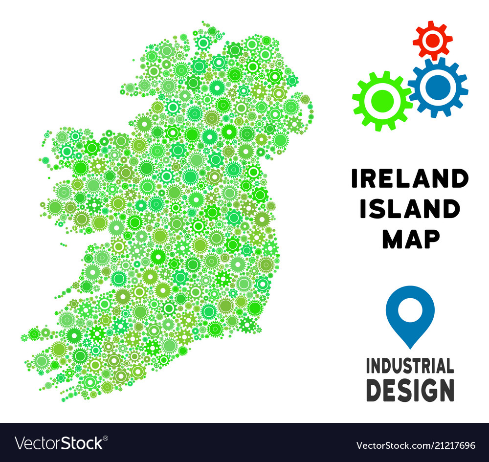 Islands Of Ireland Map.Gears Ireland Island Map Composition Royalty Free Vector