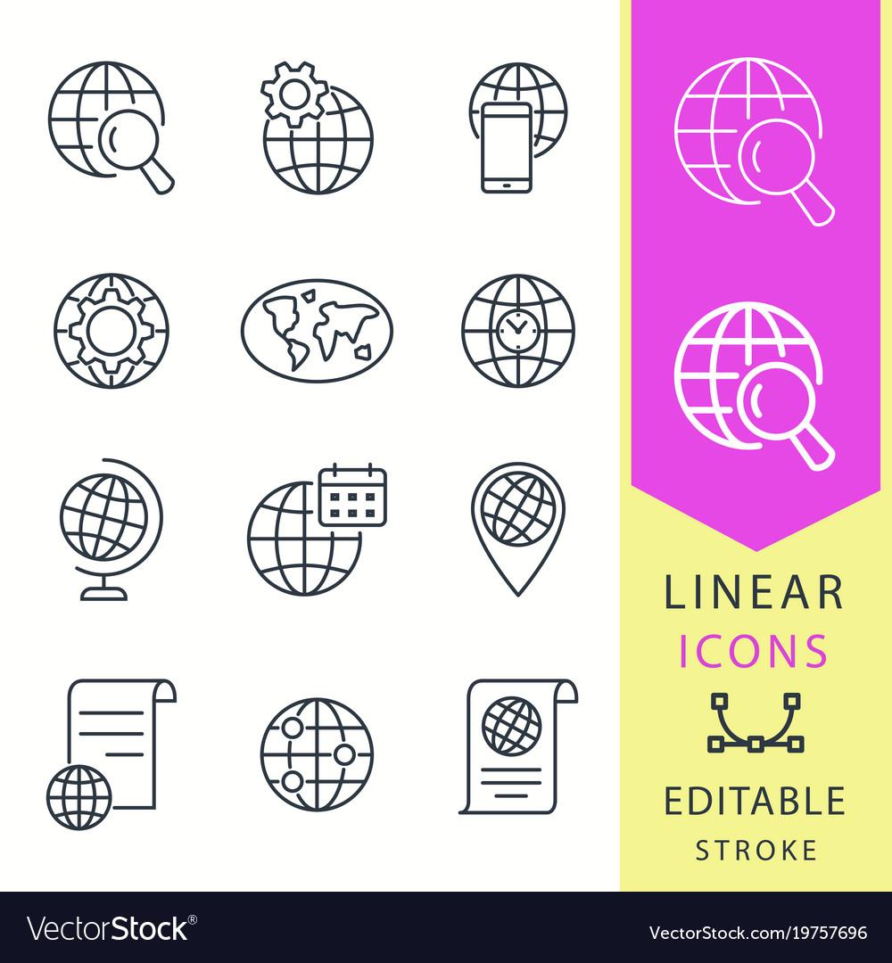Globe - line icon set editable stroke