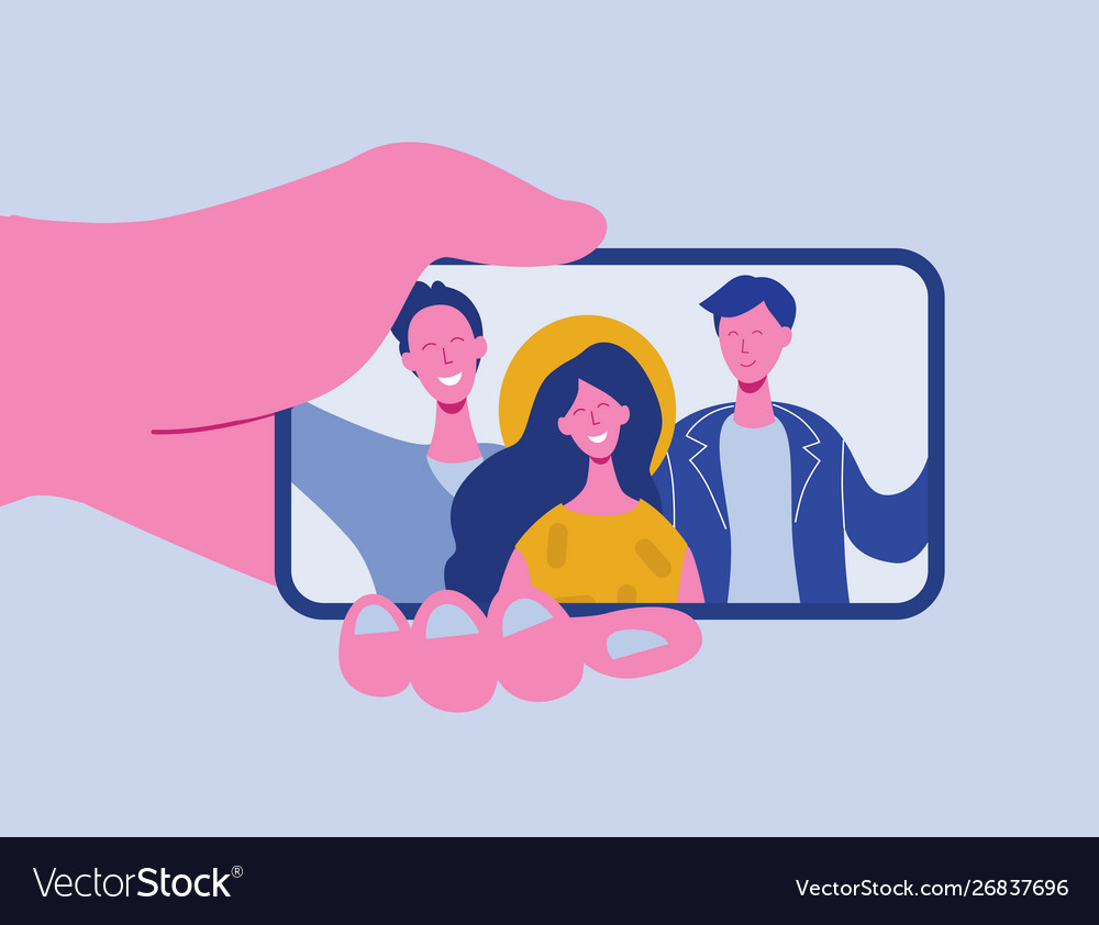 Hands holding mobile phone for selfie