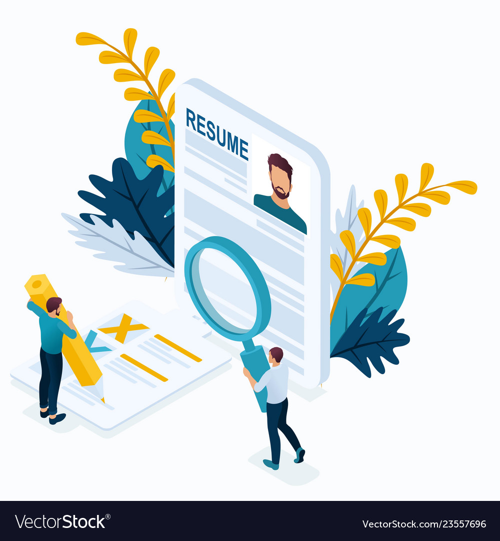 Isometric man makes a resume for the job