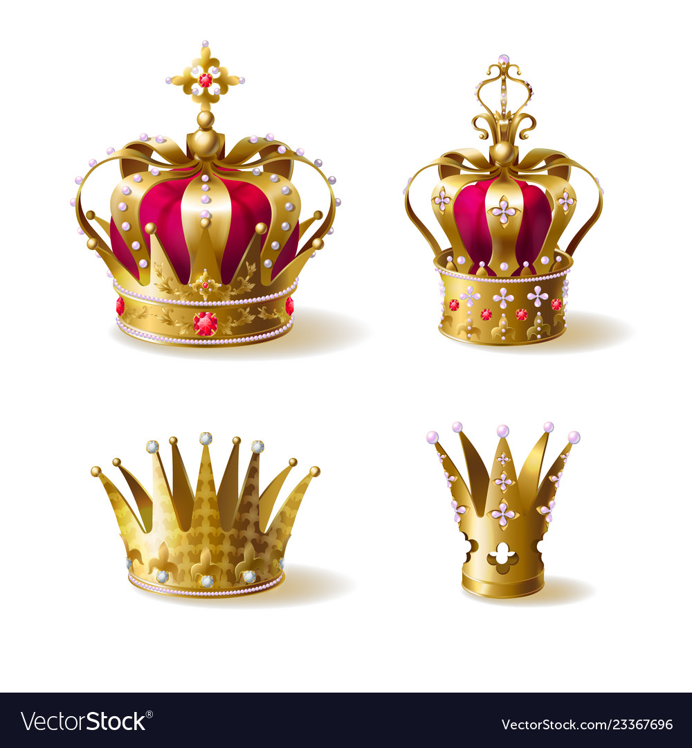 Royal family golden crowns realistic set