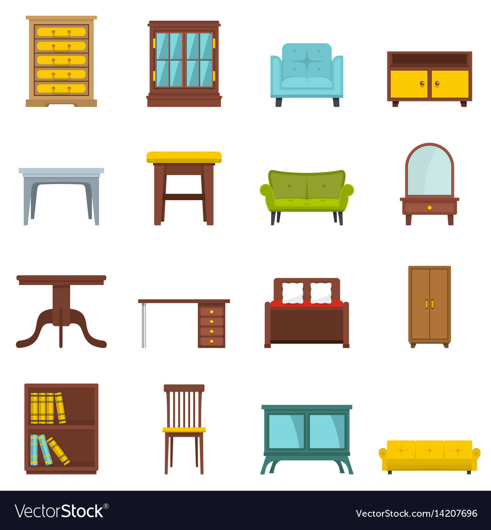 Set flat cartoon office and house furniture