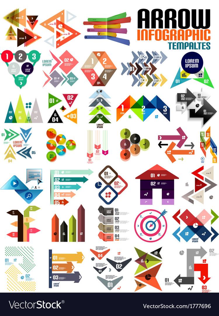 Set geometric shape arrow info templates