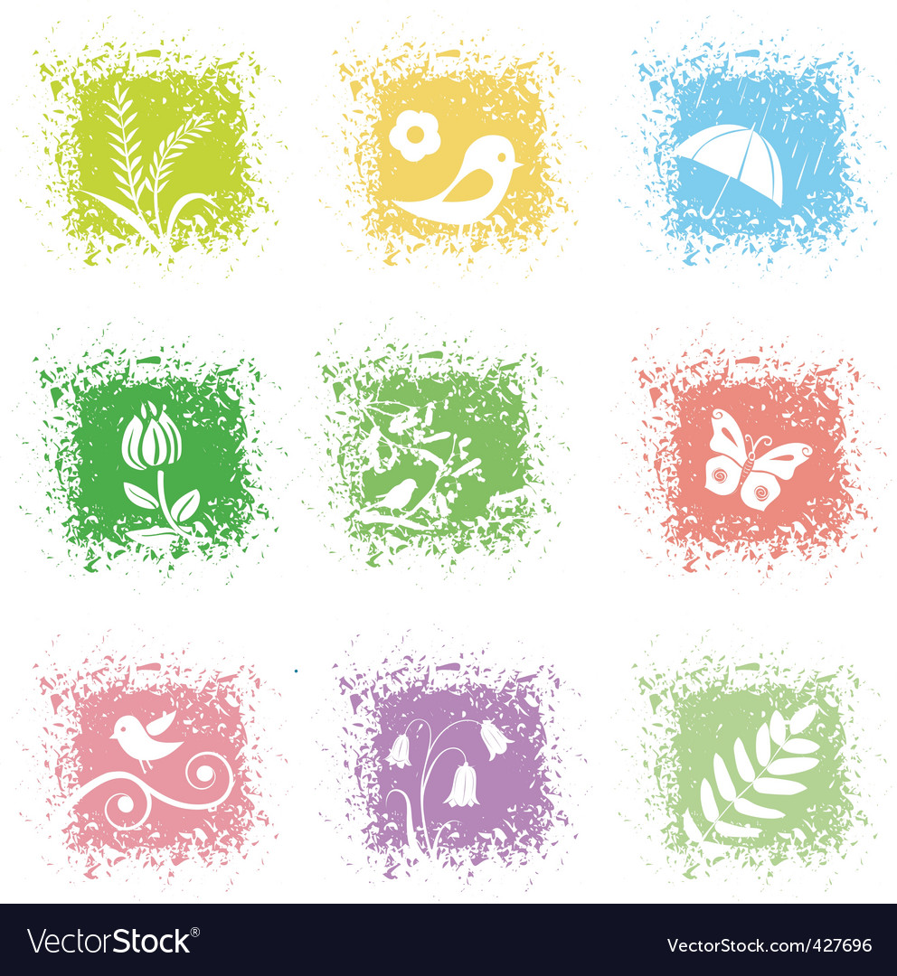 Set spring leaves icons vector image