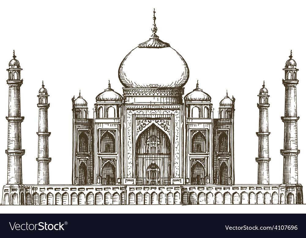 Taj Mahal logo design template India or